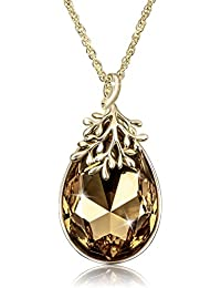 Water Drop Pendant 18K Gold-Plated Olive Branch Women...