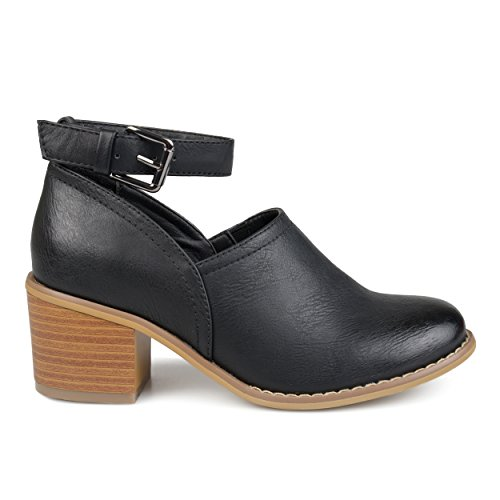 Brinley Co. Womens Faux Leather Wood Stacked Heel Ankle Strap Clogs Black, 8.5 Regular US