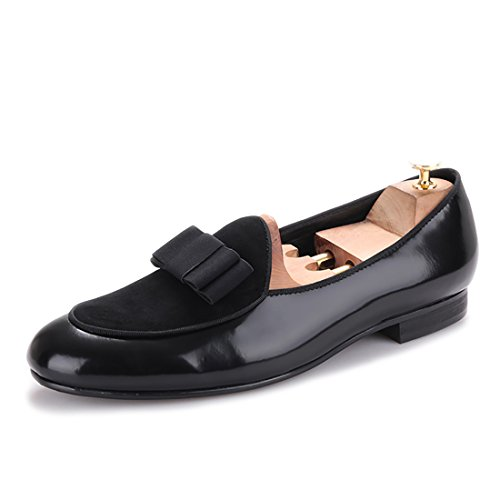 HI&HANN Mens Velvet and Nubuck Leather Stitching With Bowtie Flats Shoes Slip-On Loafer Smoking Slipper Black