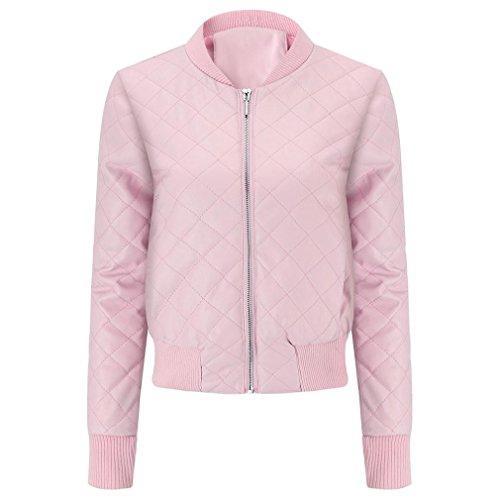 Jacket Pink Warm Fashion Women Jacket Winter huichang Coat Overcoat Leather Winter Blouse Lapel Top Slim UwTtR0nq