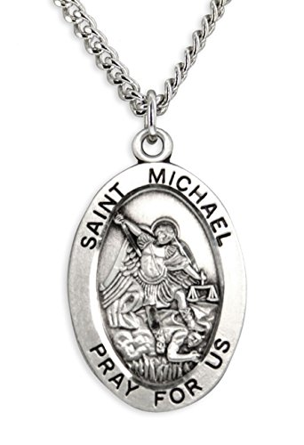 (Heartland Store Men's Saint Michael Sterling Silver Oval Pendant + 24 Inch Endless Rhodium Plate Chain )