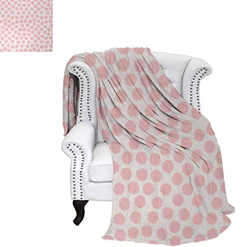 (Print Artwork Image Hand Drawn Style Dots in Pastel Color and Retro Style Sweet Childhood Pattern Warm Microfiber All Season Blanket 62