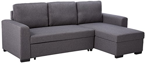 Poundex F6931 Bobkona Jassi Linen-Like Sectional with Pull-Out Bed and Compartment, Blue ()