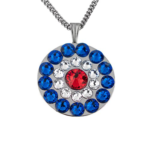 Swarovski Crystal Golf Ball Markers with Magnetic Necklace - Premium Golf Gifts for Women by Girls Golf Bling (Patriot - Red White and (Swarovski Buckle)