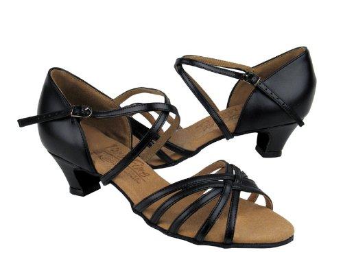 Ladies' Latin Rhythm Salsa Signature S9216 Black Leather Cuban Heel (7.5M)