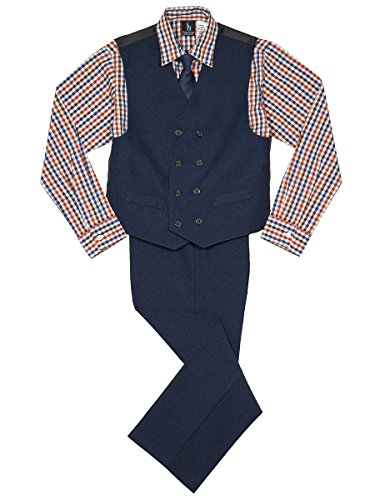Steve Harvey Boys' Big Four Piece Vest Set, poplin
