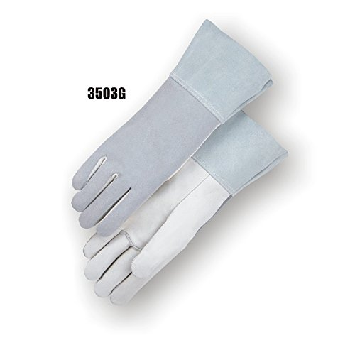 Majestic Glove 3503G/10 Goatskin Gauntlet TIG Welder Gloves, Large, Gray (Pack of 12)