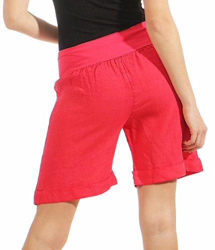 Pantaloni 6822 Da Donna Dei Rosa Pantaloncini Malito Con Fucsia Elastic Di Cintura Tessuto Lino zU5qva1w