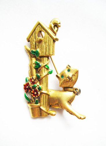 Danecraft Gold - Plated Cat Chasing Bird Pin Brooch