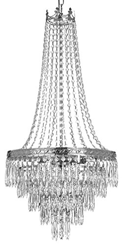 French Empire Crystal Chandelier Chandeliers Lighting , SILVER , H30 X Wd17 , 4 Lights , FREE SHIPPING