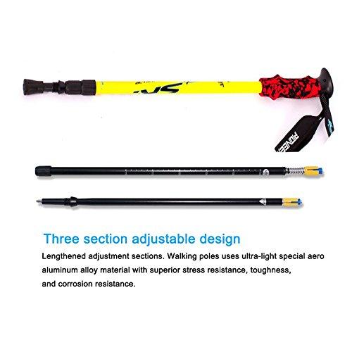 Hiking/Walking/Trekking Poles Adjustable Telescopic Aluminum Alloy Stick With Shock Absorber EVA Ultra-Light Handle 1 Piece Yellow