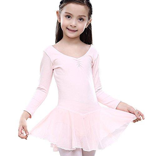 Lisianthus Girls' Chiffon Gymnastics Leotard Ballet Dress Light Pink 5-6T (Beautiful Girls Clothing)