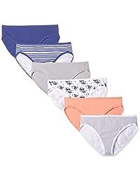 Amazon Essentials Women's Cotton Stretch Hi-Cut Brief Panty, 6-Pack
