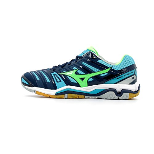 Mizuno Men Wave Stealth 4 Handball Shoes, Blue bleu marine/vert gecko/bleu turquoise