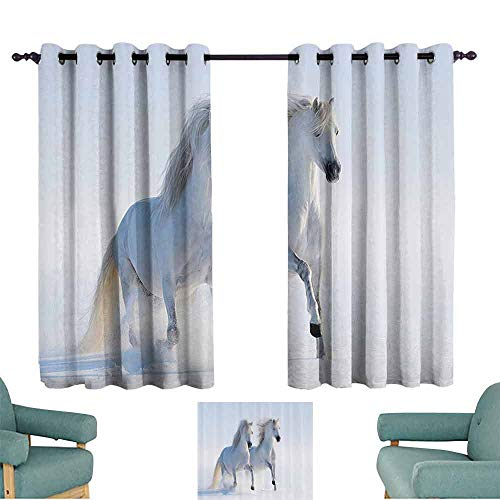 Valance Gen 1 - DILITECK Room Darkening Wide Curtains Animal Decor Collection Galloping Rare Spotted Horses on Snow Field Dominant Genes Albino Different Pure Animals Print Noise Reducing Curtain W55 xL63 White