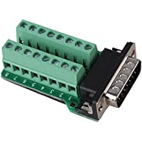 Sysly DB15 D-SUB Male Jack 15 Pins Port to 2 Row Terminal Breakout Board Riveting Tooth