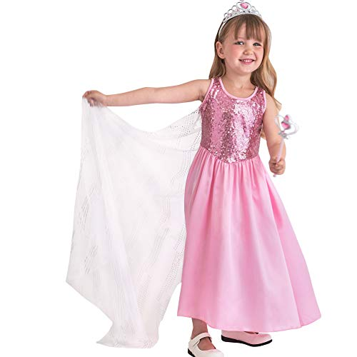 Toddlers And Tiaras Halloween Costume Dress (Butterfly Craze Pink Princess Halloween Costume Girls Dress w/Cape Tiara & Wand (Medium 3-4)