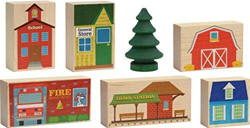 Wooden Railroad Village 7 Pc Set - Made in USA