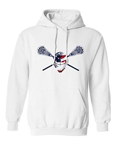 (Lacrosse Helmet Crossed Sticks Men's Hoodie Sweatshirt (White,M))