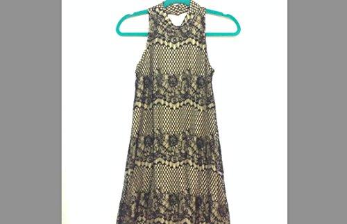 xhilaration-tan-and-black-high-neck-lace-dress-size-extra-small-xs