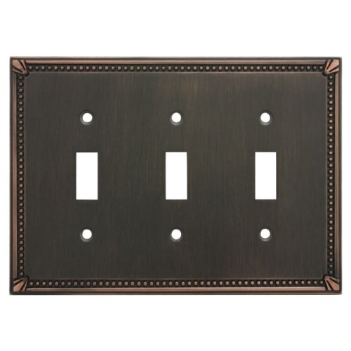 Cosmas 44032-ORB Oil Rubbed Bronze Triple Toggle Switchplate Wall Switch Plate Cover (Bronze Venetian Switchplate)
