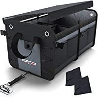 Car Trunk Organizer by FORTEM | Heavy Duty Collapsible Cargo Storage | Foldable Cover Lid | Straps and Non-Slip Bottom Strips to Prevent Sliding | 100% Waterproof Bottom | Bonus Micro Fiber Towels