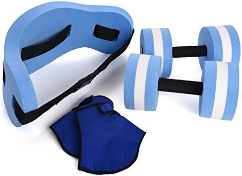 Conjunto para ejercicios acuáticos de Ivation, 6 unidades, aeróbic y ejercicios en el agua, cinturón de flotación, guantes de resistencia y pesas