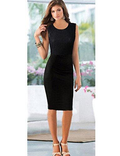 PU&PU Robe Aux femmes Grandes Tailles / Vintage / Soirée / Travail / Décontracté Mi-long Dentelle , black-xl , black-xl