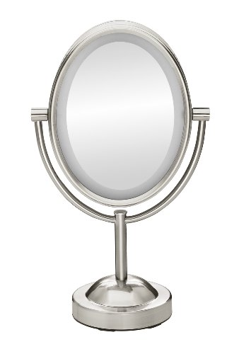 satin nickel mirror conair true glow oval satin nickel sided lighted 2104