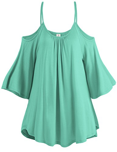 Spaghetti Strap Cold Shoulder Tunic Tops, 003-Mint, US - Jacket Shirt Tunic