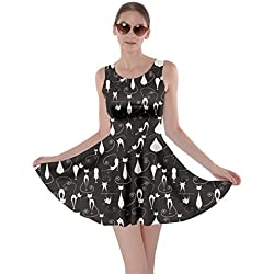 CowCow Lovely Cats Pattern Skater Dress, Black-3XL