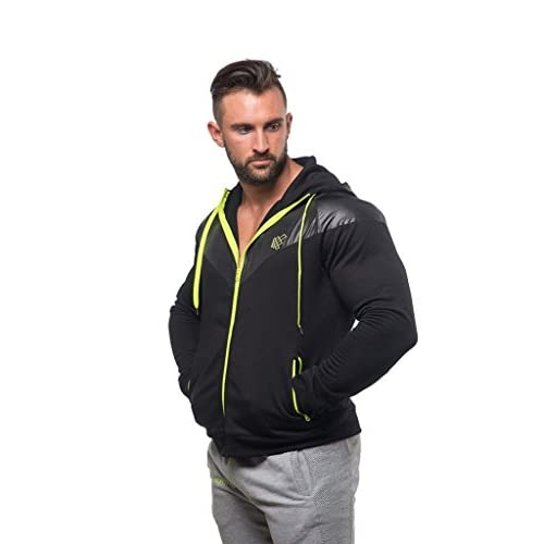 Jed North Mens Training Zip Hoodie Bodybuilding Jacket Taper Cut