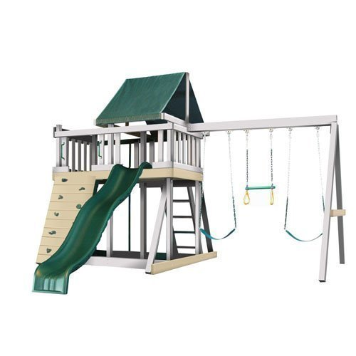 CONGO Monkey Playsystem #1 with Swing Beam - White and Sand Low Maintenance Play Set - Green Accessories