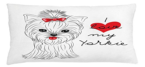 Yorkie Throw Pillow Cushion Cover, I Love My Yorkie Cute Terrier with its Tounge Out Adorable Yorkshire Terrier, Decorative Square Accent Pillow Case, 30 X 20 Inches, Black White Red ()