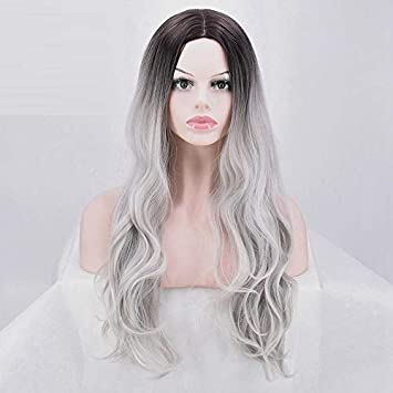 559bb1f79d3 Amazon.com : LJWYC Wig Europe And America Hot Black Gradual Gray ...