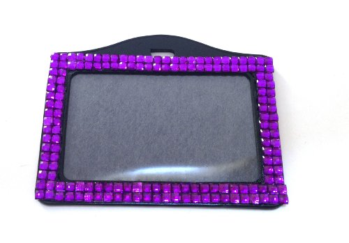 Rhinestone Crystal Bling Horizontal ID Badge Holder (Purple)