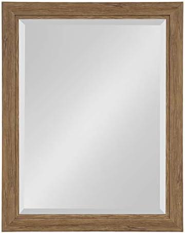 Kate and Laurel Dalat Framed Beveled Wall Mirror, 22×28, Midtone Brown