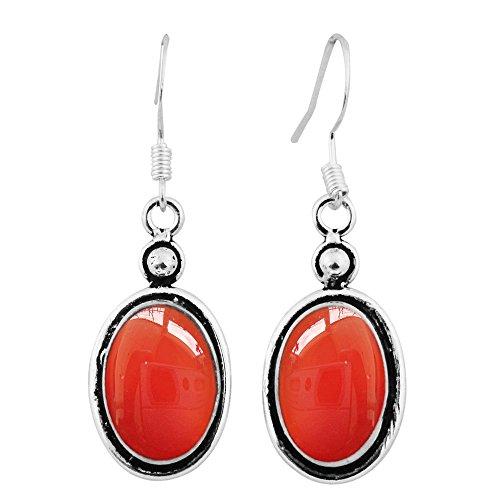 Sterling Silver Carnelian Earrings - 5