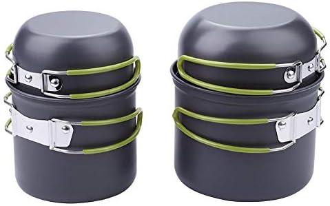 WolfGo ツールの料理4本/セット屋外ポータブル旅行キャンプピクニック調理器具鍋フライパン(グリーン)