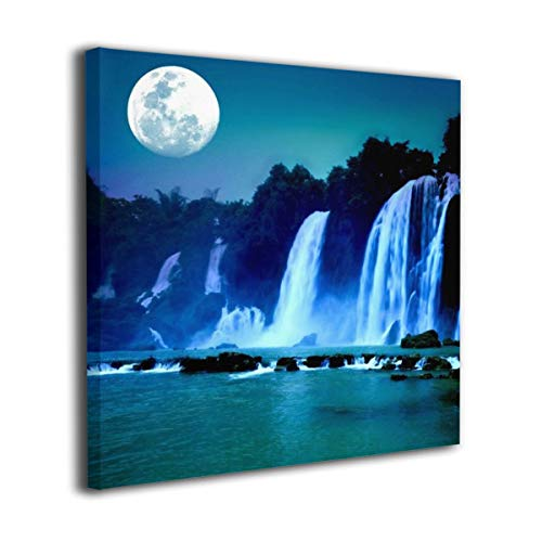 (Waterfall Under Moonlight Full Moon Nature Night Contemporary Wall Art Painting On Canvas Stretched And Framed Canvas Paintings Ready To Hang For Home Decorations Wall Decor 20