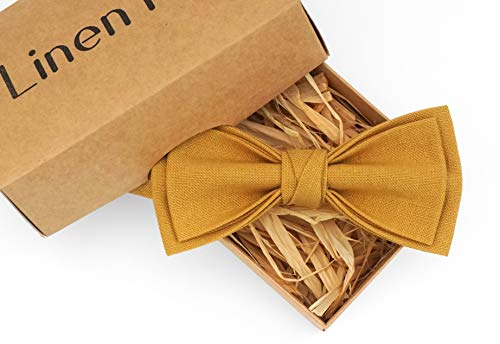 Mustard pre-tied mens wedding bow ties for groomsmen available with matching pocket square, mustard bow ties for men and toddler boys bow ties, gift for men, christmas gifts, rustic wedding ideas ()