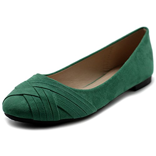 Ollio Women's Ballet Shoe Cute Casual Comfort Flat ZM1987(7.5 B(M) US, Green) -