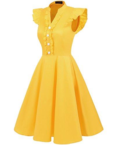 soire Rockabilly Cocktail 50 rtro Yellow Robe de de Vintage Robe annes Bridesmay 78X6q6