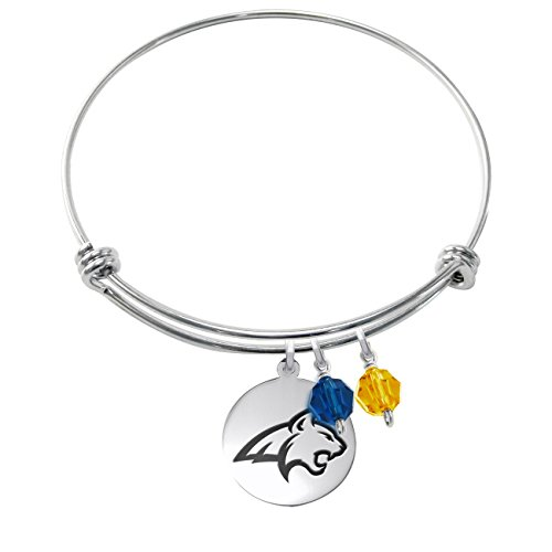 (Montana State Bobcats Stainless Steel Adjustable Bangle Bracelet with Round Charm & Crystal Accents)