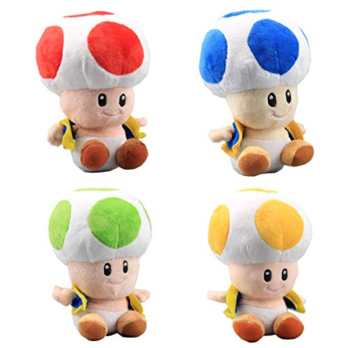 uiuoutoy Super Mario Bros. Toad Plush 7'' Set of 4pcs -