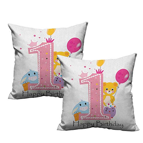 (RuppertTextile Customized Pillowcase 1st Birthday Princess Girl and Party Cake with Candle Teddy Bear Toy Print Protect The Waist W18 xL18 2 pcs)