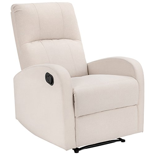 Homall Recliner Chair White Tufted Fabric Home Theater Seating With Quick Switch Design Modern Chaise Couch Lounger Sofa Seat (White) (Modern Chaise Fabric)
