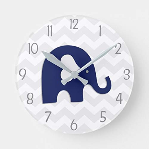 (Moonluna Navy Blue Grey Elephant Nursery Wooden Clock for Walls Decoration Round Nursery Wall Clock for Kids Room 10)