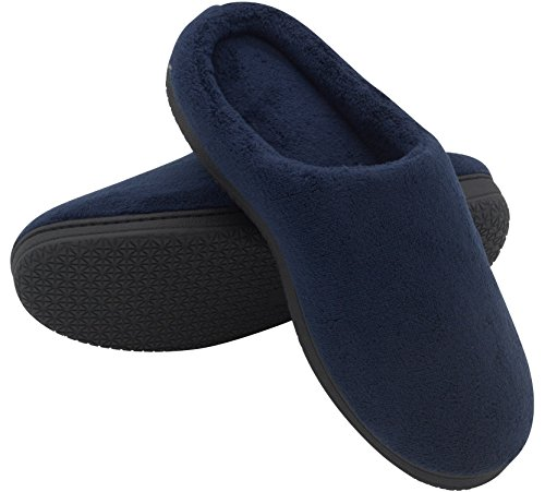HomeTop Soft Winter Warm Memory Foam Coral Fleece House Slippers for Men ¨C Assorted Styles & Color (7-8 D(M) US, Navy Blue)