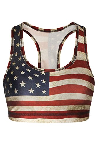 Stars And Stripes Bras - Cutiefox Women Summer Basic US Flag Star Stripe Printed Workout Bra,US Flag,US 0-2